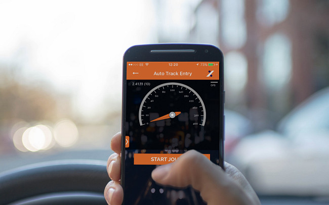 Driver using TMC Mileage Track App